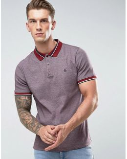 Birdseye Polo Pique Slim Fit In Dark Red