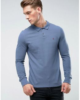 Winston Polo Long Sleeve Small Logo Slim Fit In Dark Blue