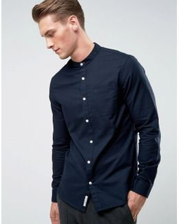 Collarless Oxford Shirt In Navy