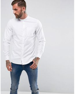 Collarless Heritage Slim Fit Shirt Oxford Stretch In White