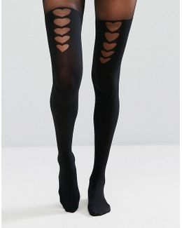 Graduated Heart Hold Up Tights