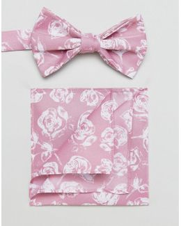 Bow Tie And Pocket Square Pack In Pink Floral