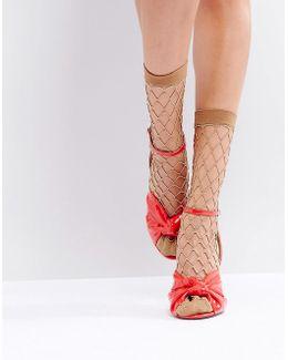 Gold Glitter Fishnet Ankle Socks