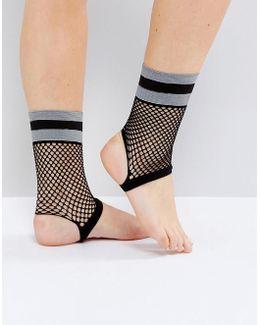 Stripe Welt Fishnet Stirrup Socks