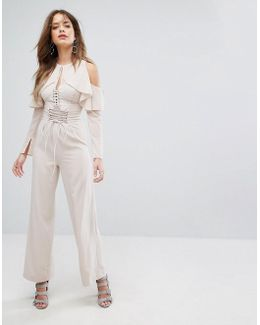 Nude Lace Up Wide Leg Trousers