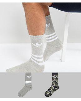 2 Pack Crew Socks In Camo Bq5964