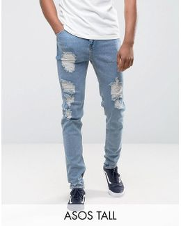 Tall Tapered Jeans In Vintage Light Wash Blue With Heavy Rips