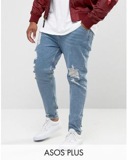 Plus Tapered Jeans In Vintage Light Wash Blue With Heavy Rips