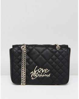 Matte Quilted Shoulder Bag With Chain
