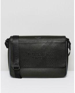 Embossed Messenger Bag In Black
