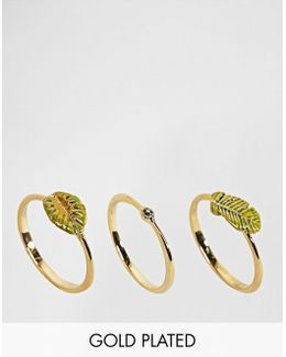 Gold Plated Tropical Leaf Stacking Ring