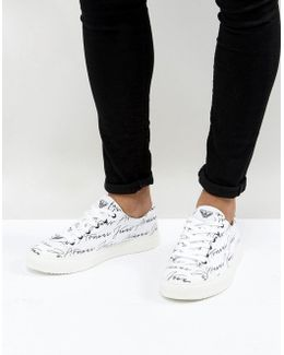 All Over Logo Sneakers In White