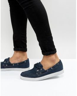 Washed Canvas Boat Shoes In Navy