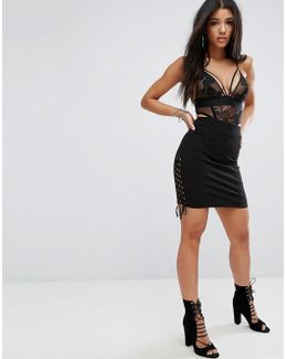 Ribbed Bodycon Pencil Skirt With Lace Up Sides