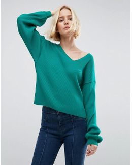 V Neck Jumper With Balloon Sleeves