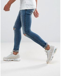 Extreme Super Skinny Jeans In Mid Wash With Rips And Side Detail