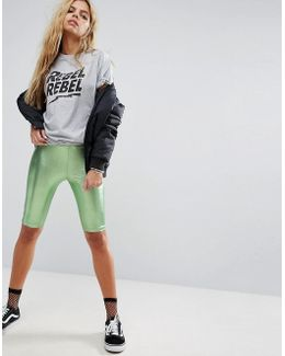 Metallic Festival Foil Legging Shorts