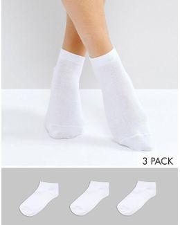3 Pack Sneaker Socks White