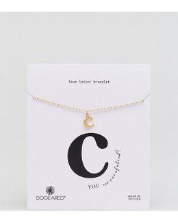 Gold Plated 'c' Love Letter Bracelet