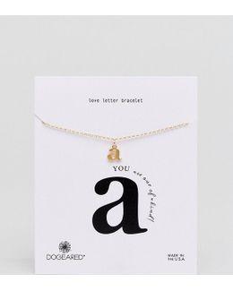 Gold Plated 'a' Love Letter Bracelet