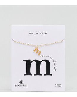Gold Plated 'm' Love Letter Bracelet