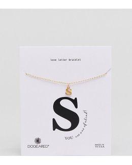 Gold Plated 's' Love Letter Bracelet