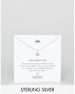 X Asos Exclusive Rose Gold Plated New Beginnings Happy Lotus Necklace