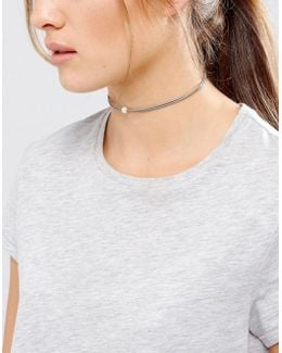 Pearls Of Happiness Love Friendship Gray Leather Choker
