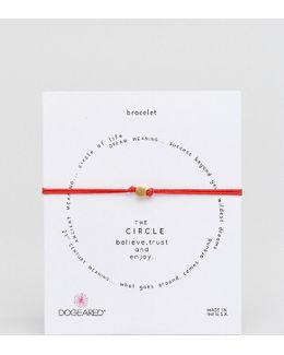 Gold Plated The Circle Adjustable Red Cord Bracelet