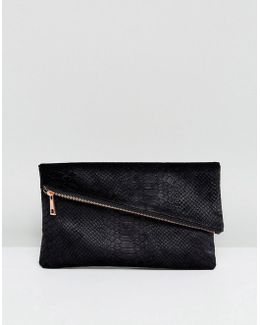 Velvet Snake Square Clutch Bag With Slanted Zip Top