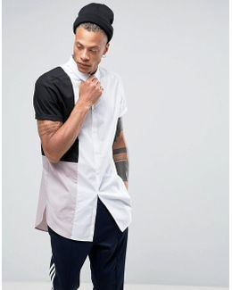 Slim Super Longline Shirt With Cut And Sew