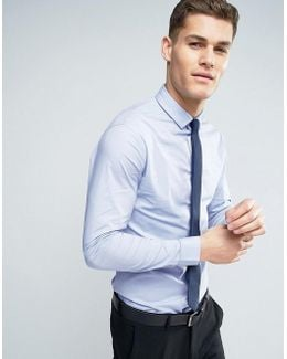 Stretch Slim Shirt In Blue With Navy Tie