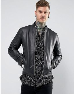 Leather Racing Biker Jacket In Black