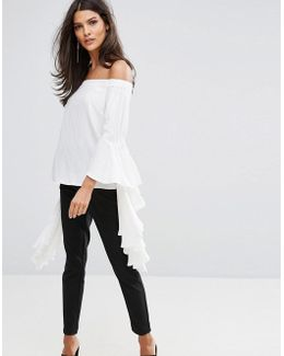 Anru Long Sleeve Flounce Top