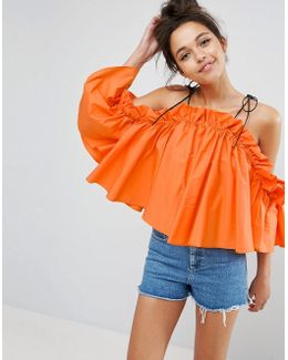 Premium Structured Cotton Cold Shoulder Top With Contrast Strap