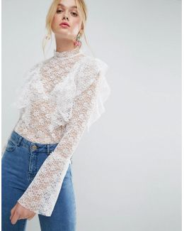 Blouse In Pleat With Lace Detail