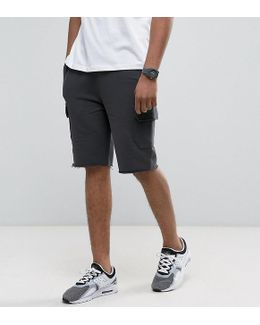 Tall Skinny Jersey Shorts With Cargo Pockets In Washed Black