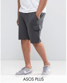 Plus Skinny Jersey Shorts With Cargo Pockets In Green