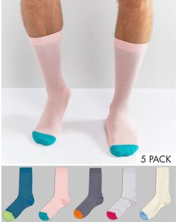 Socks In Pastel Colours With Contrast Toes 5 Pack