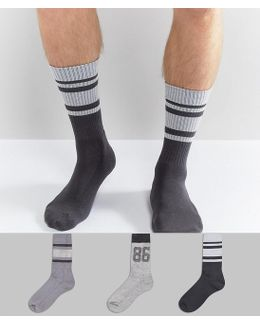 Sports Style Socks With Textured Design 3 Pack