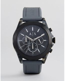 Ax2609 Chronograph Silicone Watch In Gray 44mm