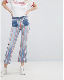 Cropped Stripe Flare Jean