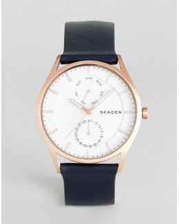 Skw6372 Holst Leather Watch In Navy