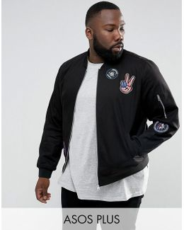 Plus Cotton Bomber Jacket With Badges In Black