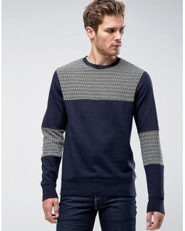 Sweatshirt With Herringbone Panels