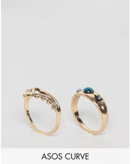 Pack Of 2 Shimmer Stone Rings