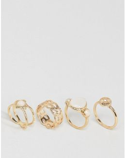 Pack Of 4 Faux Opal Shimmer Stone Rings