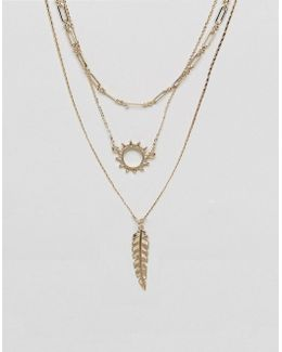 Pretty Open Sun Multirow Necklace