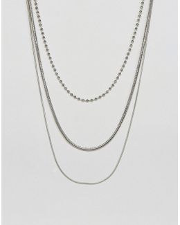 Mixed Chain Multirow Necklace