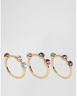 Pack Of 3 Rainbow Stone Rings